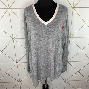 Wilfred Sherbrooke V Neck Gray Long Sleeve Sweater
